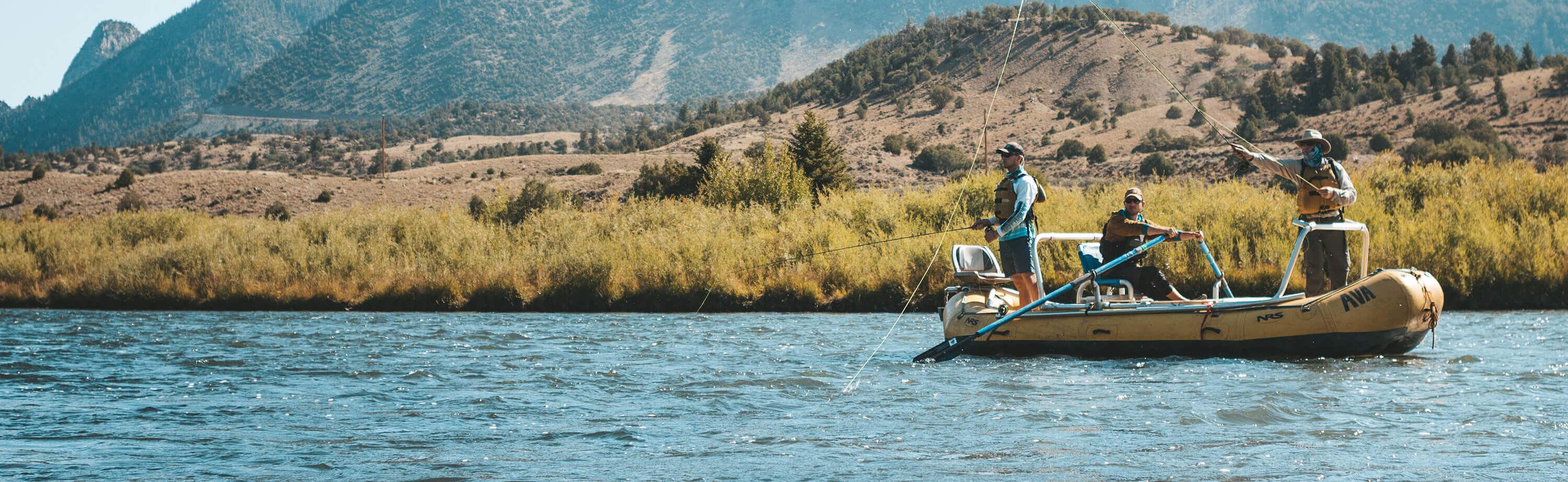 Fly fishing on a raft